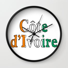 Cote d'Ivoire Ivory Coast Font with Ivorian Flag Wall Clock