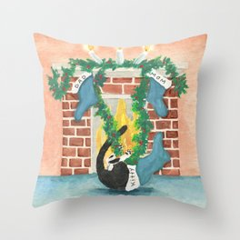 Christmas stocking curiosity Throw Pillow
