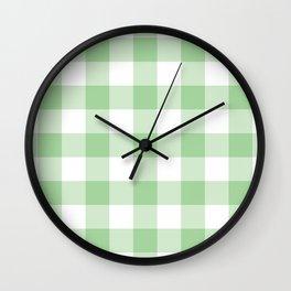 Mint Gingham Pattern Wall Clock