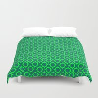 green pattern Duvet Covers featuring Green Pattern by JesseRayus