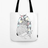 fawn Tote Bags featuring Fawn by Cassandra Jean