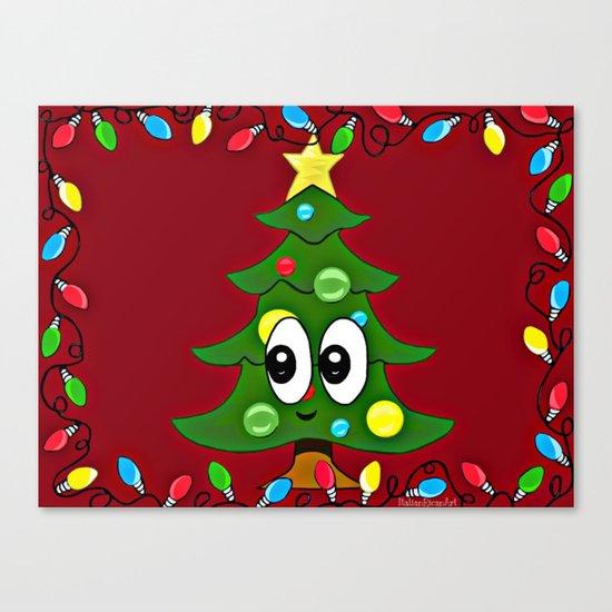 Emoji Christmas Tree Canvas Print