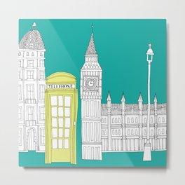 London - City prints // Red Telephone Box Metal Print