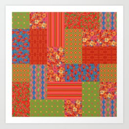 Poppy Fields Faux Patchwork Art Print