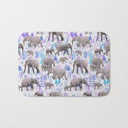 Sweet Elephants in Aqua, Purple, Cream and Grey Bath Mat