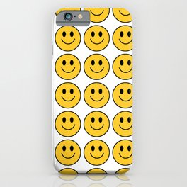 Smiley Face Pattern - White Background Variant iPhone Case