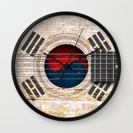Old Vintage Acoustic Guitar with South Korean Flag Wall Clock