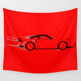 Fast Red Car Wall Tapestry