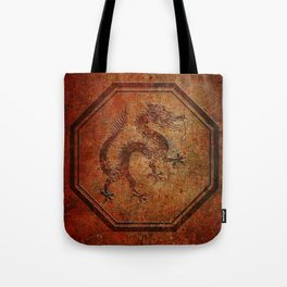 Distressed Chinese Dragon In Octagon Frame Tote Bag
