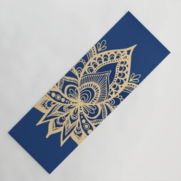 Gold and Blue Lotus Flower Mandala Yoga Mat