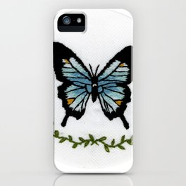 Blue Butterfly Hand Embroidery iPhone Case