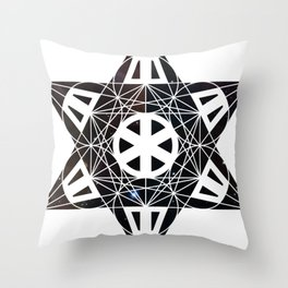 Metatron's Cube Time Wheel ~ Starry Night Throw Pillow