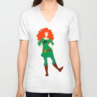 merida V-neck T-shirts featuring Merida by Eva Duplan Illustrations