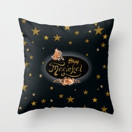 Stay Magical with Gold Glitter Stars Throw Pillow