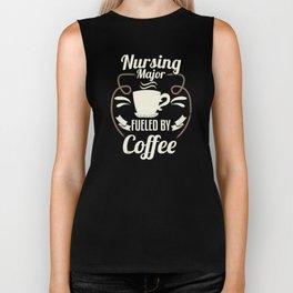 Nursing Major Fueled By Coffee Biker Tank