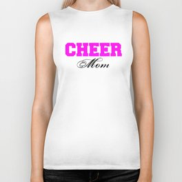 Cheer Mom Typography in Pink and Black Biker Tank