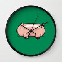 pig Wall Clocks featuring Pig by Krisren28