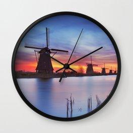 II - Traditional windmills at sunrise, Kinderdijk, The Netherlands Wall Clock