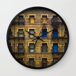 CONDEMNED WITH 3 BLUE DOORS Wall Clock