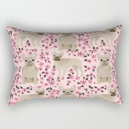 French Bulldog fawn coat cherry blossom florals dog pattern floral dog breeds Rectangular Pillow