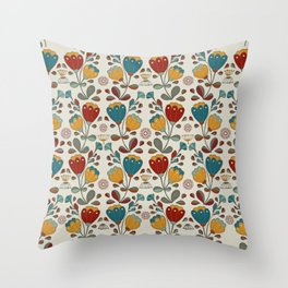 Vintage Ethno Flowers in red, blue and yellow on beige Throw Pillow