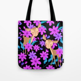 Cute little baby deer fawns lost in the forest of delicate pink flowers illustration. Animals. Tote Bag