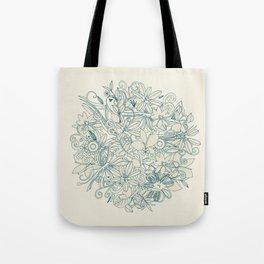 Denim flower circle Tote Bag