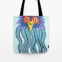 cthulu Tote Bags featuring the owl of cthulu by ronnie mcneil