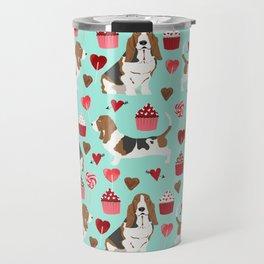 Basset Hound valentines day cute gifts for dog lover pet portrait dog breed custom illustration Travel Mug