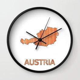 Austria map outline Orange Brown Striped watercolor illustration Wall Clock