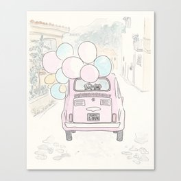 Pink Vintage Car with Balloons in Countryside and Fluffballs Canvas Print