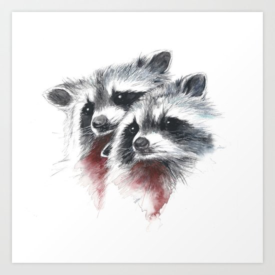 Raccoons I Art Print