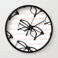 frames Wall Clocks featuring Frames & Stripes by Georgiana Paraschiv