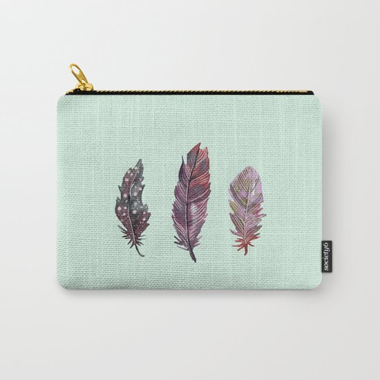 watercolor feathers (mint green) dos Carry-All Pouch