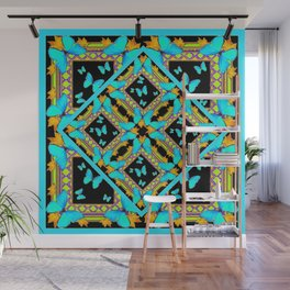 Decorative Western Style Turquoise Butterflies  Black Gold Patterns Wall Mural