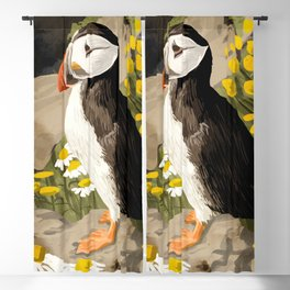 Puffin, Wildlife Birds Animals, Quirky Eclectic Tropical Nature Jungle, Forest Bohemian Painting Blackout Curtain