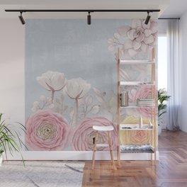 Floral Spring Greatings - Pastel Flowers Wall Mural