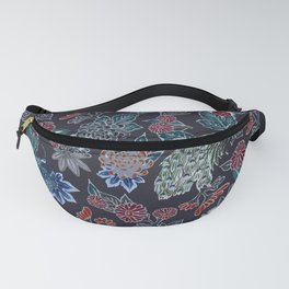 Peacock Floral in Midnight Fanny Pack