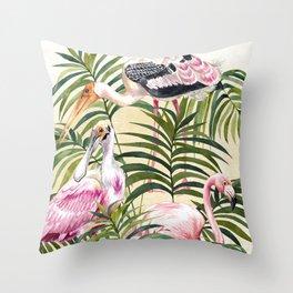 Pink Birds Throw Pillow