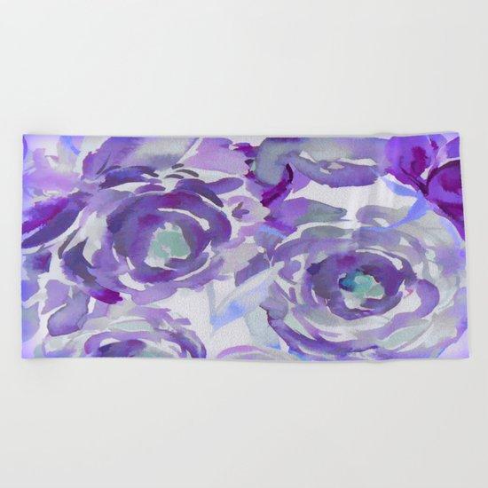 Purple Haze Painterly Floral Abstract Beach Towel