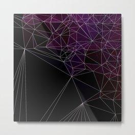 Polygonal purple, black and white Metal Print