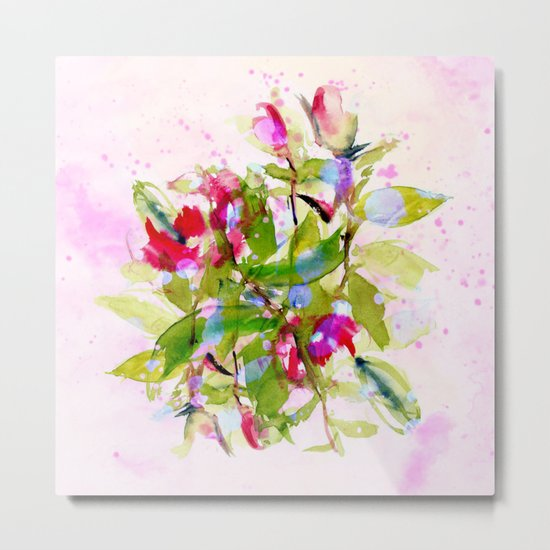 watercolors abstract bouquet Metal Print