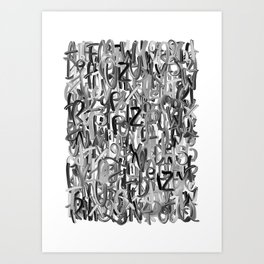 Alphabet Black and White Art Print