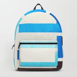 Cerulean Blue Geometric Minimalist Watercolor Geometric MInimalist Mid Century Modern Lightning Bolt Backpack