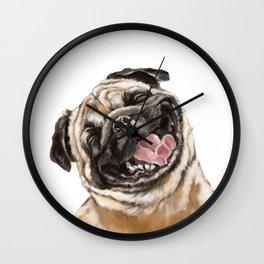 Happy Laughing Pug Wall Clock