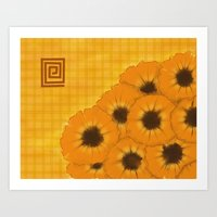 Sunflowers and Plaid  Art Print