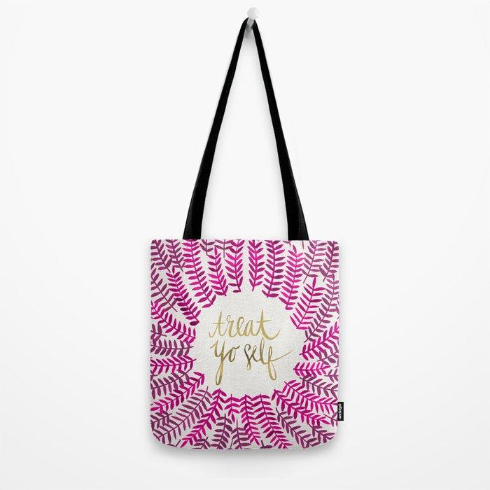 Treat Yo Self – Pink & Gold Tote Bag