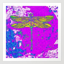 Golden Winged Dragonfly Purple Abstract Art Print