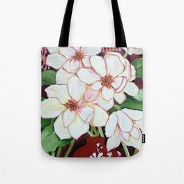 White Blooms in Red Vase Tote Bag