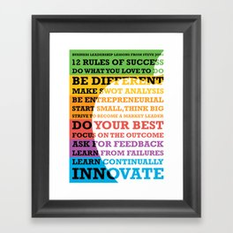 Lab No. 4 - Business Leadership Lessons From Steve Jobs Quotes Poster Framed Art Print